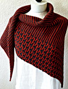 The Rusted Roof Shawl combines mosaic knitting with cushy garter stitch stripes.