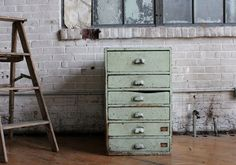 Industrial Scovill Green Set of Drawers, Number Two. $350.00, via Etsy.