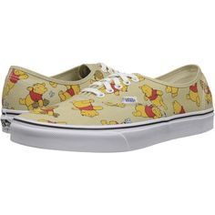 Vans Disney Authentic Winnie The Pooh/Light Khaki) Skate Shoes ($30) ❤ liked on Polyvore featuring shoes, sneakers, neutral, grip shoes, grip trainer, waffle trainer, laced shoes and vans trainers