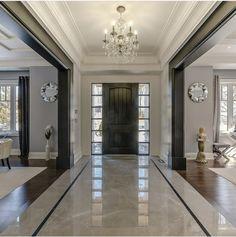 Mix of white and black/dark trim. - Likes, 16 Comments - Grace R ( - Dream House Home Room Design, Decor Interior Design, Living Room Designs, Interior Decorating, Decorating Ideas, Decor Ideas, Foyer Flooring, Wood Flooring, Custom Built Homes