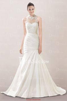 Illusion High-collar Neckline Mermaid Wedding Dress Featuring Pretty Appliques and Gentle Pleats- option #11