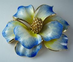 Vintage Sphinx Blue and Yellow Enamelled Flower Brooch
