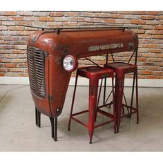 Image of Red Upcycled Vintage Tractor Bar Upcycled Furniture, Diy Furniture, Upcycled Vintage, Repurposed, Tractor Bar, Bar Dining Table, Dining Set, Car Part Furniture, Vintage Tractors