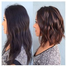 [ Trendy Hair Color - Highlights : Owner Ana from Rinse Salon created this Beautiful transformation by hair painting and adding some cinnamon highlights Medium Hair Styles, Curly Hair Styles, Hair Medium, Medium Length Wavy Hairstyles, Mid Length Haircuts, Medium Length Layered Hair, Short To Medium Haircuts, Medium Wavy Bob, Medium Bobs
