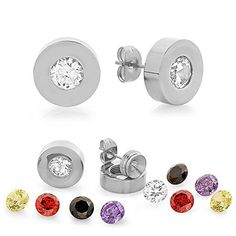 1.50 Ct Round 6mm Stainless Steel Interchangeable Silver Cubic Zirconia Studs. 1.50 Ct Round Cut. Metal Material: Stainless Steel. Shape: Basket. Gem: Cubic Zirconia. Color: Silver.