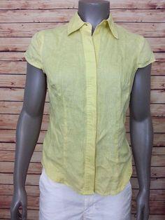 Tweeds linen top womens size M cap sleeves career casual work  #Tweeds #ButtonDownShirt #Casual