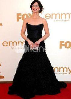 Black Michelle Forbes Strapless Floor Length Tulle Emmy Awards Dress.