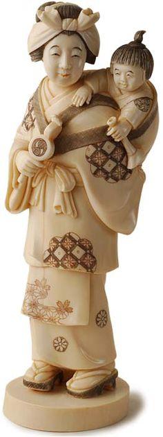 JAPANESE OKIMONO | Antique Japanese Carved Mother and Child Ivory Okimono