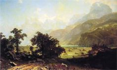 Lake Lucerne, Switzerland by Albert Bierstadt Lake Lucerne Switzerland, Albert Bierstadt Paintings, Hudson River School, Seen, Art Database, Museum Of Fine Arts, Canvas Art Prints, Artist, Print Poster