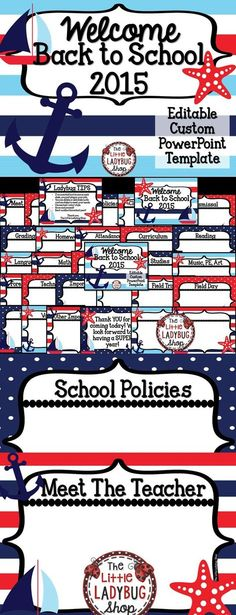 Nautical Theme {Back to School Open House PowerPoint EDITABLE Template} | Open House Template | Meet the Teacher Template | Nautical  This is an EASY to use Back to School Nautical Theme Template to present all your important information to your class and parents. This template is created in PowerPoint and it is 100% EDITABLE for you to plug in your classroom information!