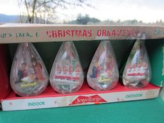 2 Vintage JEWELBRITE 3D Christmas Ornaments Teardrop Shaped in Boxes
