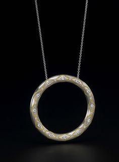 Zoltan David   'Circle of Life' Pendant  Palladium with 22K Gold Inlay Necklace