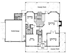 Country, Farmhouse, Traditional House Plan 63308 with 4 Beds, 4 Baths, 2 Car Garage Level One Cottage Style House Plans, Cottage Style Homes, Cottage Design, House Design, Farm House, Porch Storage, Tudor Style Homes, Tudor House, Breezeway