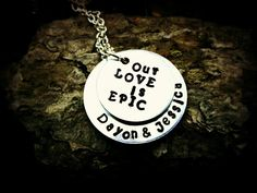 One Epic Love Story Hand Stamped Necklace by CharmletteDesigns, $26.00