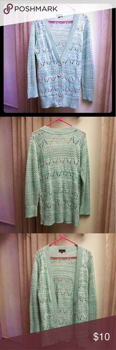 Knit Mint and Grey Cardigan Turquoise, grey, and white airy open weave designed cardigan. Takeout Sweaters Cardigans
