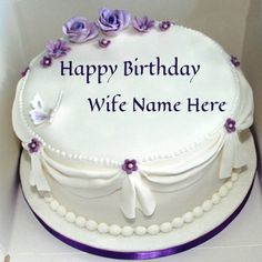 Write Name On Violet Roses Birthday Cake For Wife
