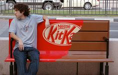Whoever thought of this idea to advertise KitKat bars is a genius.  The bench becomes the candy bar.