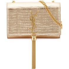 Saint Laurent Monogram Snake-Embossed Small Tassel Crossbody Bag ($2,130) ❤ liked on Polyvore featuring bags, handbags, shoulder bags, ysl, gold, white crossbody purse, monogrammed crossbody, white crossbody handbags, crossbody handbag and white purse