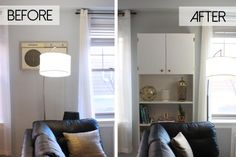 These 23 IKEA BILLY bookcase hacks share how you can transform your home with customized storage that fits your space, style, and budget.: BILLY Bookcase Hides an Eyesore