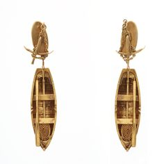 Antique 18K Gold Pendant Earrings in the form of  Rowboats