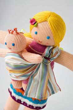 Babywearing Mommy Doll with a Baby Doll - knitted play dolls - eco-friendly, maternity, waldorf via Etsy