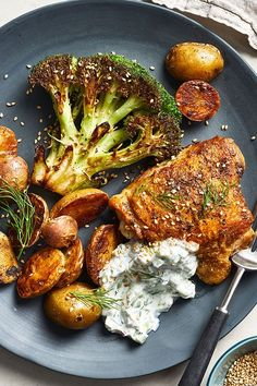 This quick and easy 45-minut roast chicken thigh recipe incorporates broccoli and potatoes to create the ultimate comfort food meets fall recipe. Whether you're looking to eat this chicken recipe for a fast weeknight dinner or pack it for lunch the next day, it's a great choice for a broccoli recipe.#chickenrecipes #broccolirecipes #roastchicken #chickenthighrecipes #weeknightdinners