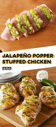 We Can't Get Enough Of This Jalapeño Popper Stuffed Chicken - If you love jalapeño poppers, this is the chicken dinner of your DREAMS. Get the recipe at Delish. Mexican Food Recipes, Diet Recipes, Cooking Recipes, Healthy Recipes, Recipies, Stuffed Food Recipes, Recipes Dinner, Cooking Pasta, Cooking Games