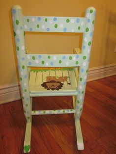 Back of rocking chair for baby shower gift.