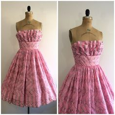 A personal favorite from my Etsy shop https://www.etsy.com/listing/499028999/1950s-embroidered-pink-party-dress-50s