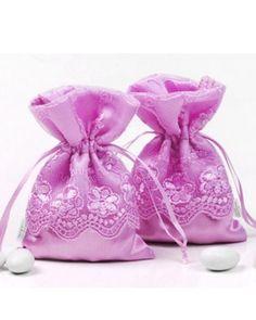 Boites à dragées - un petit sac en tissu rose - romantique