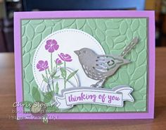 "This is another of the cards we are making in Card Buffet this week, using one of the birds from the Birds & Blooms Thinlits along with ""Wild about Flowers"" and a greeting from a past Paper Pumpkin kit.  This ""new bird"" led to discussions about our favorite ""old bird"".  Of course, I am talking about the bird from the Bird Builder Punch.  I still love this little bird!  This card was made with touches of Sale-a-bration paper and ribbon from several (5?) years ..."