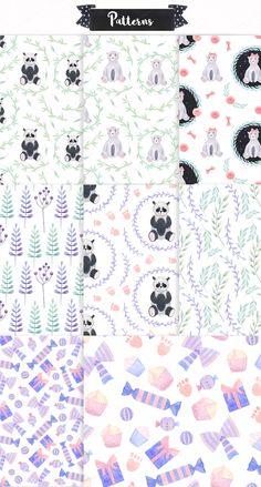 Watercolor Birthday & Cute Bears  by Spasibenko Art on @creativemarket
