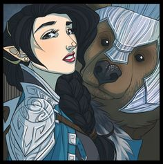 New Critical Role art by Kit Buss: Vex'ahlia the half-elven ranger (and Trinket the bear!)