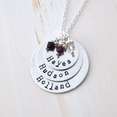Mother Necklace mom of 3 Personalized necklace mommy necklace 3 kids name birthstones three kids children. $35.20, via Etsy.