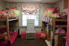 The PERFECT dorm. Stilt beds, futon underneath, microwave-drawers-tv underneath other bed. Its like a living room/dorm room and it's perfect for guests. MUST do this :)
