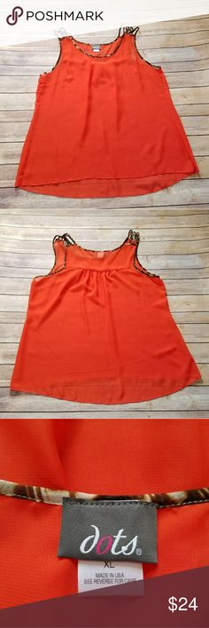 Dots orange red animal print trim sheer blouse Size X-Large. Dots orange/red color tank top with animal print straps. Light weight sheer material. Excellent used condition! No holes, stains or wash wear. 100% polyester. Dots Tops Blouses