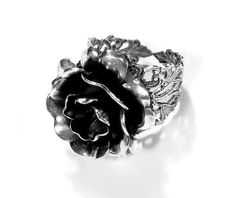 Steampunk Ring Jewelry by edmdesigns - Vintage Barrel Spring ROSE Flower Ring on Silver Filigree Base