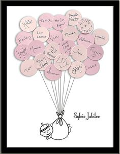 A unique way to remember those who came to the baby shower. A baby shower guest book where everyone writes a message on a balloon