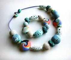 Mix marino en línea-Collar y pulsera | polymerclaydaily.com/… | Flickr - Photo Sharing!