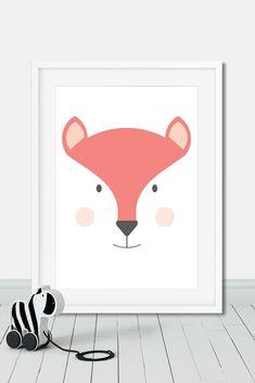 Minimalist fox print illustration for kids room and nursery Nursery Themes, Nursery Wall Art, Nursery Decor, Fox Nursery, Bedroom Decor, Bedroom Ideas, Thé Illustration, Art Illustrations, Woodland Nursery Girl