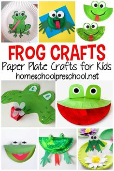 This spring and summer, make one or more of these paper plate frog crafts for preschool kids. They'll love them all!  #crafts #kidscrafts #paperplatecrafts #homeschoolprek