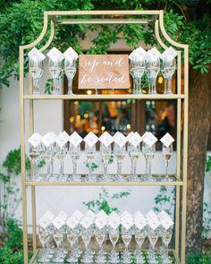 Such a fun way to display escort cards! Who wants a glass? Diy Wedding Bar, Wedding Themes, Display, Glass, Fun, Cards, Lounge, Home Decor, Ideas