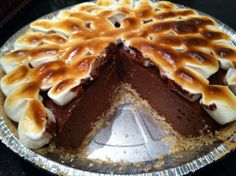 Vegan Smores Pie - I just made this and it was surprisingly simple and delicious! The filling is just chocolate chips and silken tofu.