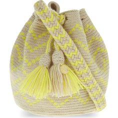 GUANABANA Wayuu extra small crochet cross-body bag ($97) ❤ liked on Polyvore featuring bags, handbags, shoulder bags, yellow, shoulder strap handbags, macrame purse, crochet shoulder bag, tassel handbag and shoulder strap bags