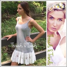 "Eyelet Lace Extender Slip The hottest selling style this season. Heather grey with eyelet lace ruffle hem slip dress. Perfect for pairing with tunics, dresses, tops. Fabulous way to add length a new pop of style to your outfits. Features adjustable straps.  Made of rayon and spandex. Feels like a soft jersey fabric with plenty of stretch. Size S/M, M/L, L/XL.                                                                       S/M Bust 28"" Length 35"" M/L Bust 32"" Length 35"" L/XL Bust 34""…"