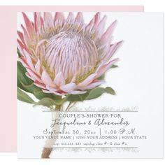 Shop Elegant Simple Modern Floral Pink Protea Flower Invitation created by LuxuryWeddings. Personalize it with photos & text or purchase as is! Succulent Wedding Invitations, Classy Wedding Invitations, Bridal Shower Invitations, Card Invitation, Flower Invitation, Invites, Dinner Invitations, Protea Wedding, Wedding Flowers