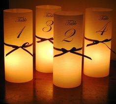 wedding table numbers- since you want a lot of candles, better than No holders Wedding Reception Centerpieces, Diy Centerpieces, Wedding Table Numbers, Diy Party Decorations, Cute Wedding Ideas, Trendy Wedding, Lilac Wedding, Wedding Book, Wedding Paper