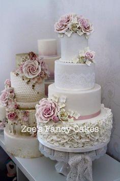 Wedding cake by Zoe's Fancy Cakes Elegant Wedding Cakes, Beautiful Wedding Cakes, Gorgeous Cakes, Wedding Cake Designs, Pretty Cakes, Fondant Cakes, Cupcake Cakes, Cupcakes, Zoes Fancy Cakes