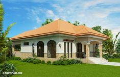 MyHousePlanShop: Three Bedroom Bungalow House Plan Designed To Be Built In 140 Square Meters Bungalow Style House, Bungalow Floor Plans, Home Design Floor Plans, House Floor Plans, Classic House Exterior, White Exterior Houses, House Design Pictures, Small House Design, Three Bedroom House Plan