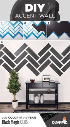 Try this DIY accent wall with our 2018 Color of the Year, Black Magic! 1. Choose a wall pattern 2. Using painters tape, create a stencil/outline of the pattern 3. Paint each section & allow paint to dry 4. Remove tape & enjoy your new accent wall.